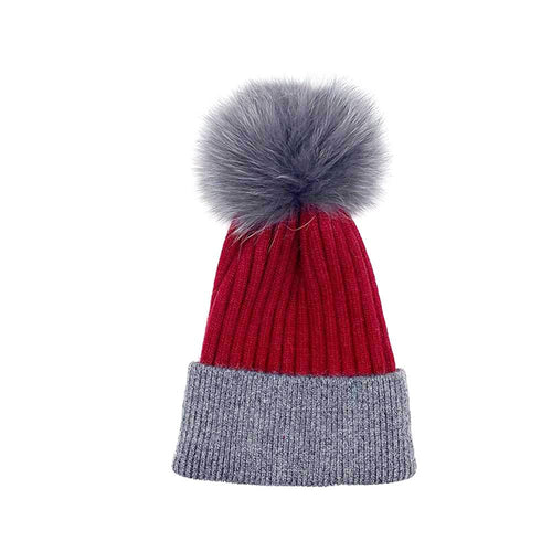 Dark Grey/Red Real Fur Bobble Hat Hat Nimmo Shoes