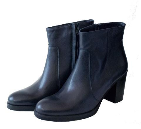Dark Navy Leather Ankle Boots with Block Heel Shoe Nimmo shoes