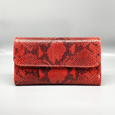 Dark Orange Python Effect Leather Clutch Nimmo shoes