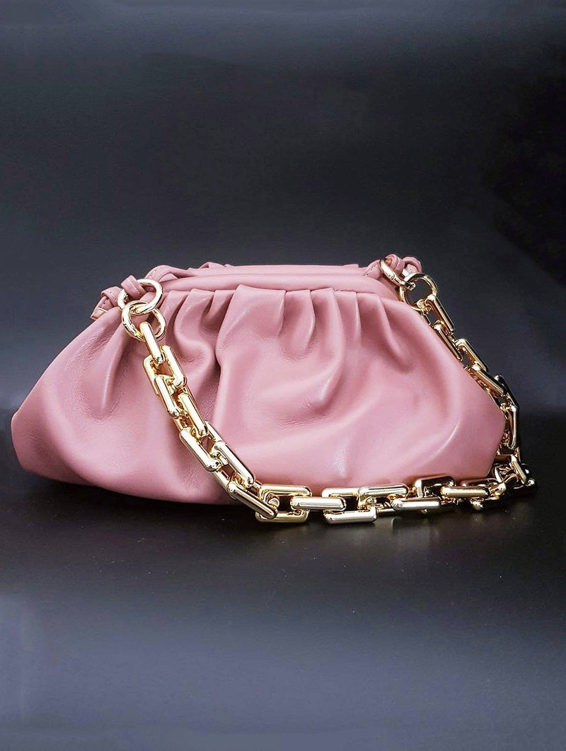 Dark Pink Pouch Bag with Gold Chain Nimmo Shoes