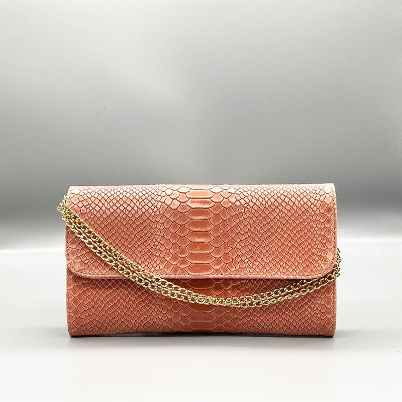 Dusky Pink Snake Embossed Leather Clutch Nimmo shoes