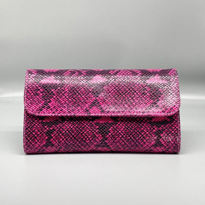 Fuchsia Python Effect Leather Clutch Nimmo shoes