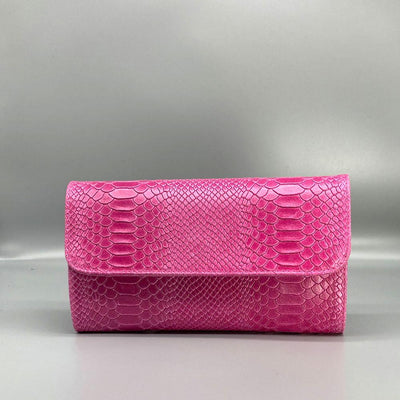 Fuchsia Snake Embossed Leather Clutch Nimmo shoes