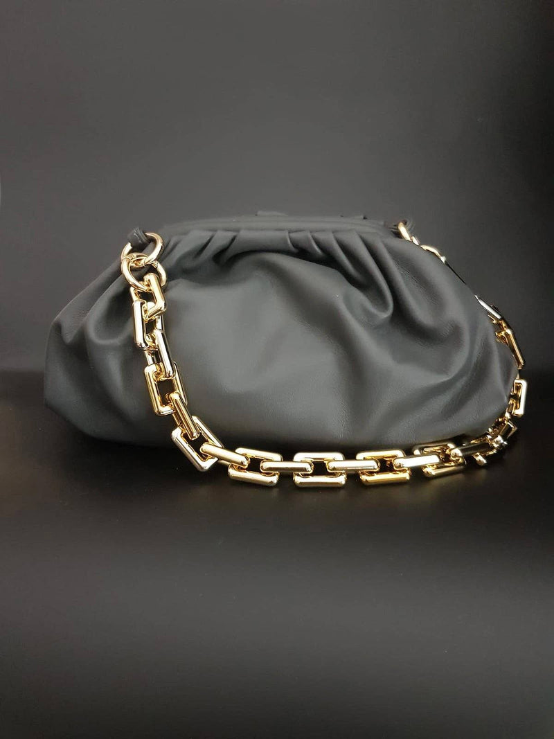 Grey Pouch Bag with Gold Chain Nimmo Shoes
