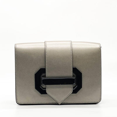 Grey / Silver Leather Clutch Clutch Nimmo shoes