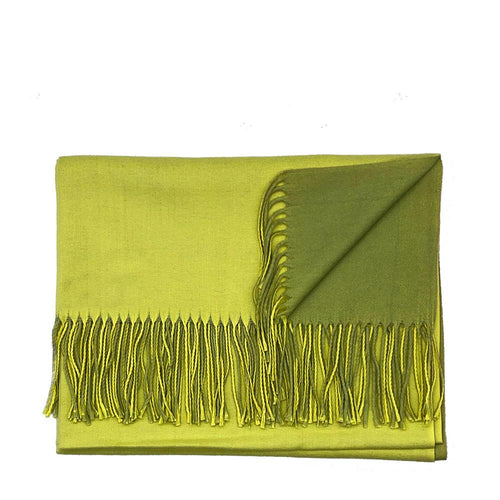 Lg. Yellow / Green Cashmere Scarf Pashmina Nimmo shoes