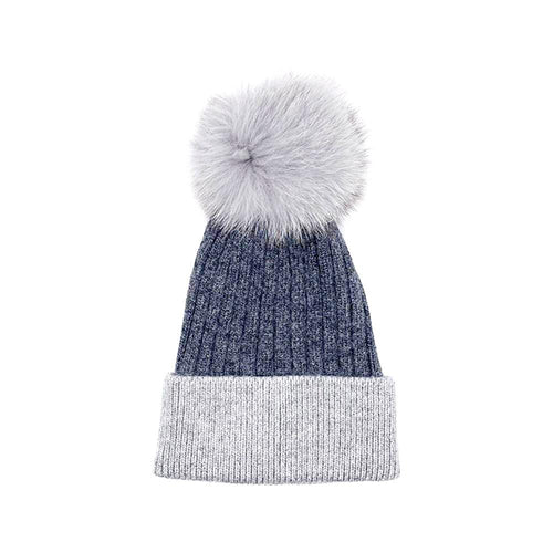 Light Grey/Dark Grey Real Fur Bobble Hat Hat Nimmo Shoes