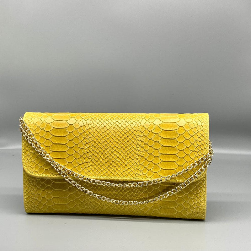 Light Yellow Snake Embossed Leather Clutch Nimmo shoes