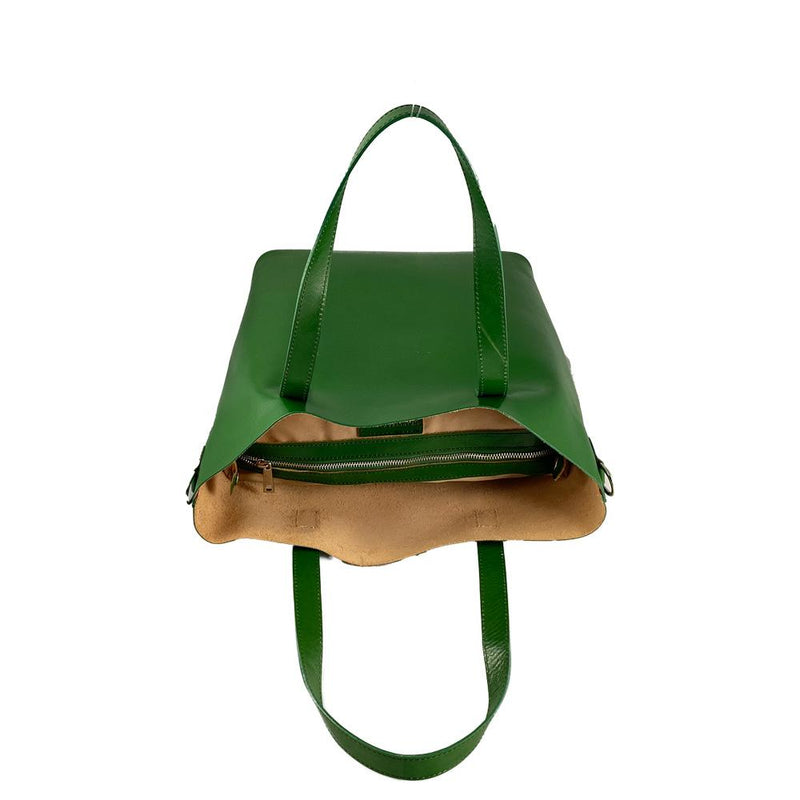 Lrg Green Leather Shopper Bag Nimmo shoes
