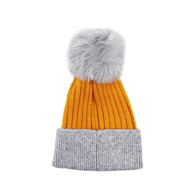 Mustard/Grey Real Fur Bobble Hat Hat Nimmo Shoes