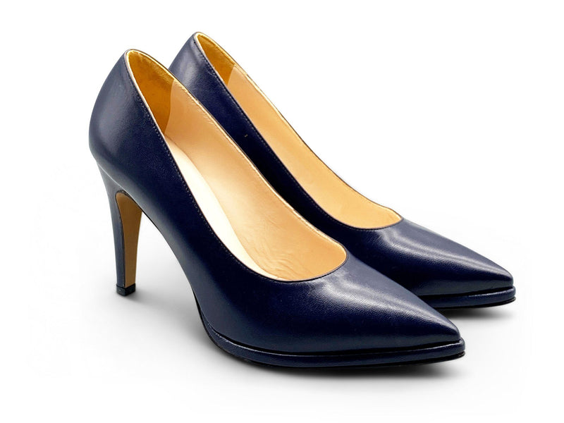 Navy Blue Leather Pumps Shoe Nimmo shoes