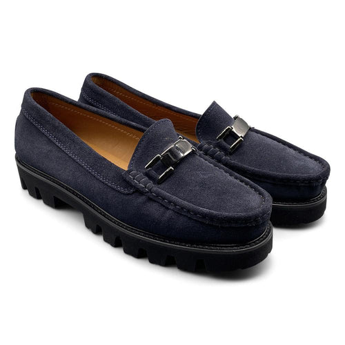 Navy Blue Suede Loafer with Vibram Sole Shoe Nimmo shoes