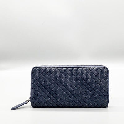 Navy Woven Leather Long Wallet Nimmo Shoes