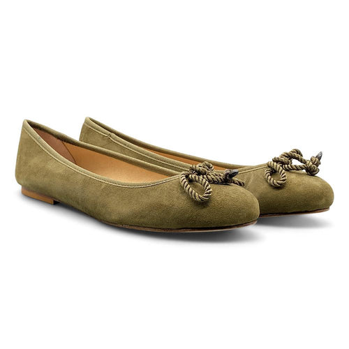 Olive Green Suede Ballerina Shoe Nimmo shoes