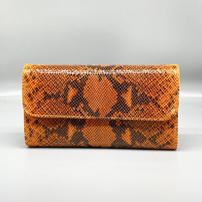 Orange Python Effect Leather Clutch Nimmo shoes