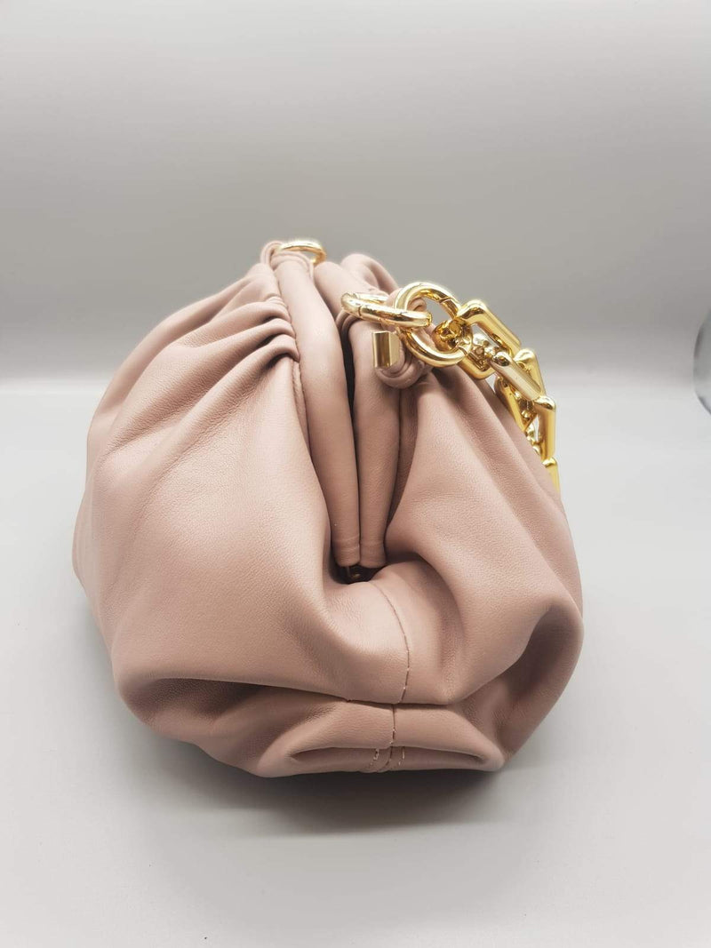 Pale Pink Pouch Bag with Gold Chain Nimmo Shoes