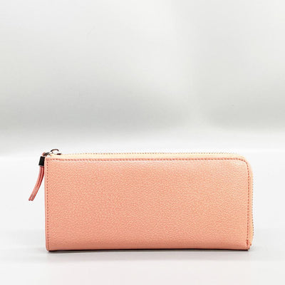 Peach Leather Long Wallet Nimmo Shoes