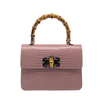 Pink Croc Bag with Bamboo Handle Nimmo Shoes