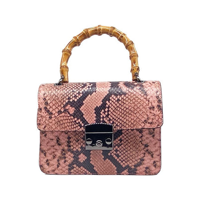 Pink Snakeskin bag with Bamboo Handle Nimmo Shoes
