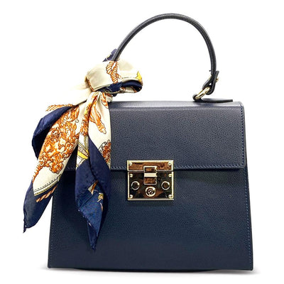 Plain Leather Classic Day Bag - Navy Blue Bag Nimmo Shoes