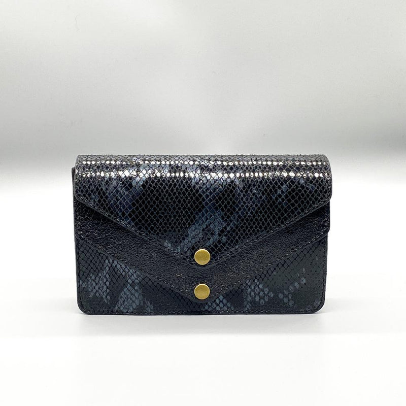 Python Effect Leather Clutch - Black / Grey Clutch Nimmo shoes