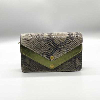 Python Effect Leather Clutch - Green Clutch Nimmo shoes