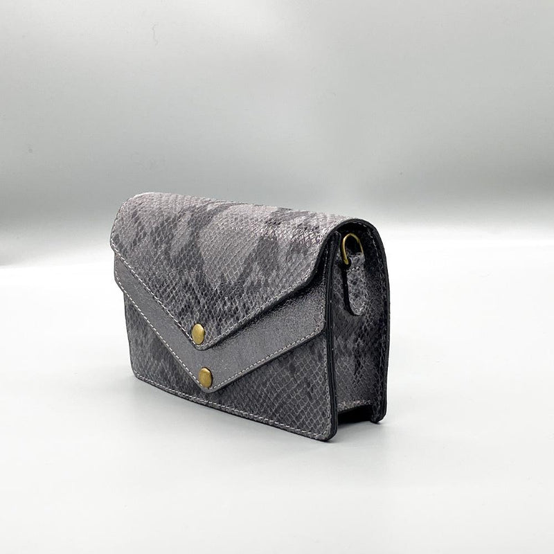 Python Effect Leather Clutch - Grey Clutch Nimmo shoes