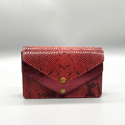 Python Effect Leather Clutch - Red Clutch Nimmo shoes