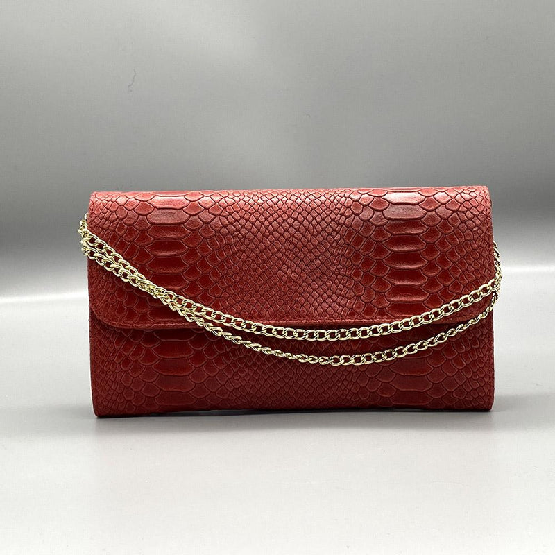 Red Snake Embossed Leather Clutch Nimmo shoes