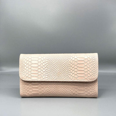 Rose Pink Snake Embossed Leather Clutch Nimmo shoes