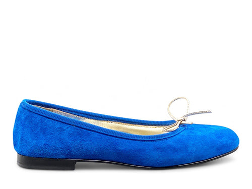 Royal Blue Suede Ballerina Shoe Nimmo shoes