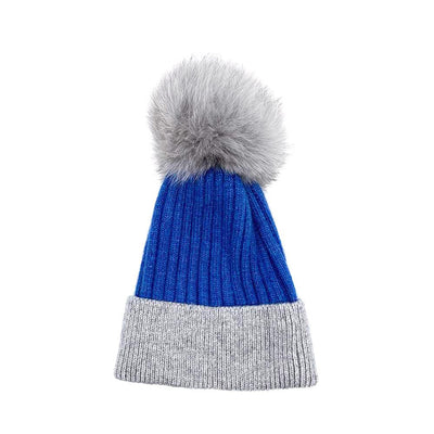 Royal Blue/Grey Real Fur Bobble Hat Hat Nimmo Shoes