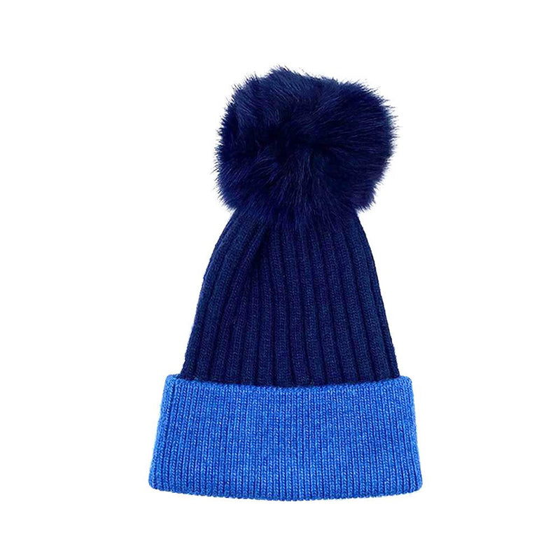 Royal Blue/Navy Real Fur Bobble Hat Hat Nimmo Shoes