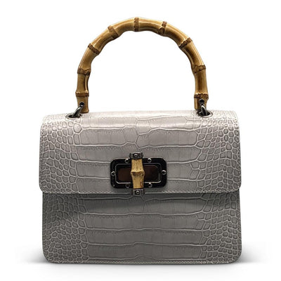 Silver Croc Bag with Bamboo Handle Nimmo Shoes