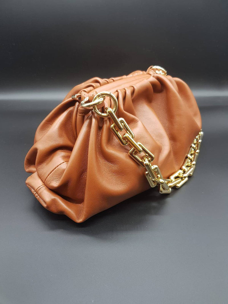 Tan Pouch Bag with Gold Chain Nimmo Shoes