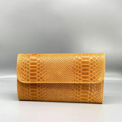 Tan Snake Embossed Leather Clutch Nimmo shoes