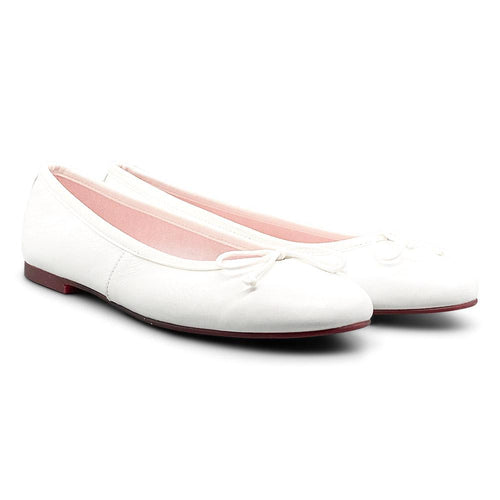 White Leather Ballerina Shoe Nimmo shoes