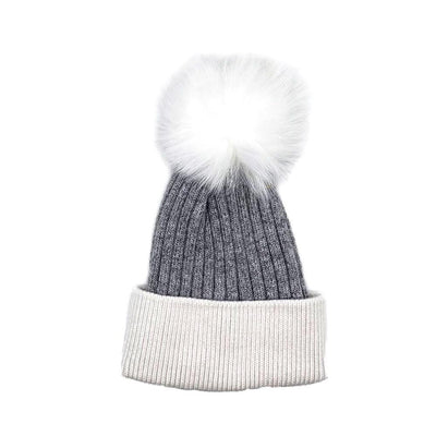 White/Grey Real Fur Bobble Hat Hat Nimmo Shoes