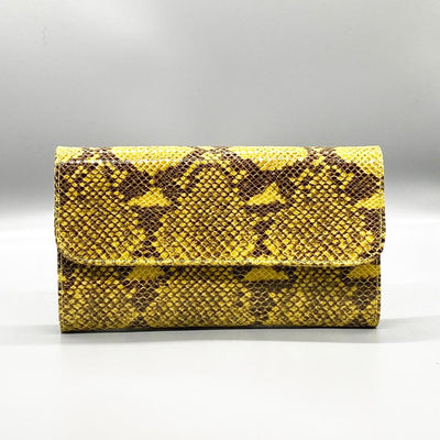 Yellow Python Effect Leather Clutch Nimmo shoes