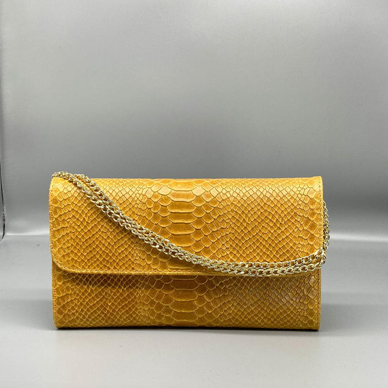 Yellow Snake Embosssed Leather Clutch Nimmo shoes