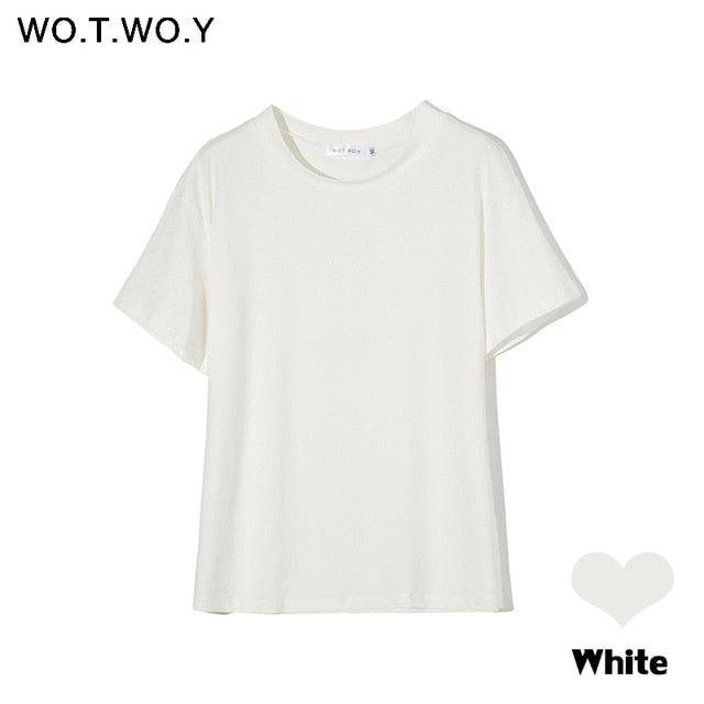 WOTWOY Summer Knitted Basic Solid T-shirt Women Casual Cotton Short Sleeve Tee-Shirts Female Tops Women 2020 New Fashion S-XL