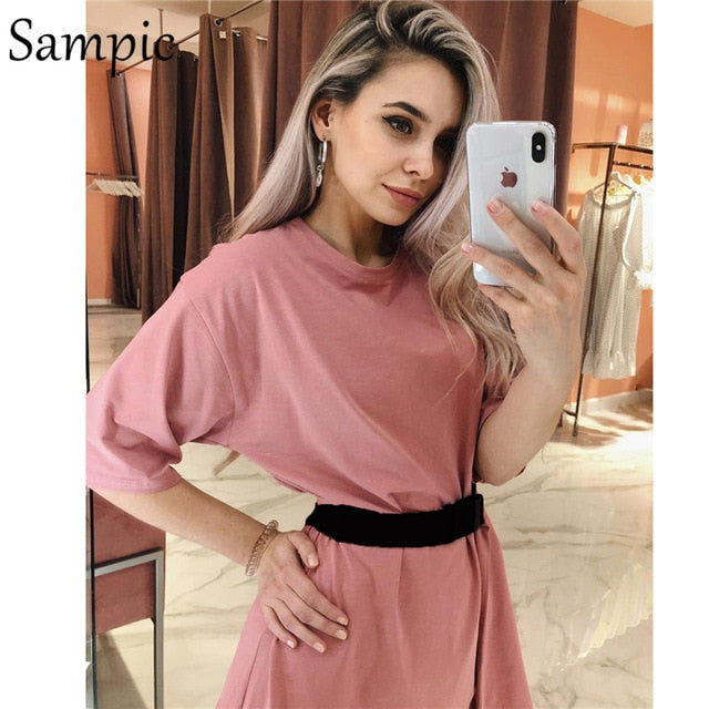 Sampic Fashion White Khaki Sexy Women Summer O Neck Short Sleeve Shirt Tops And Bodycon Shorts Bottom Suit Two Piece Sets Outfit