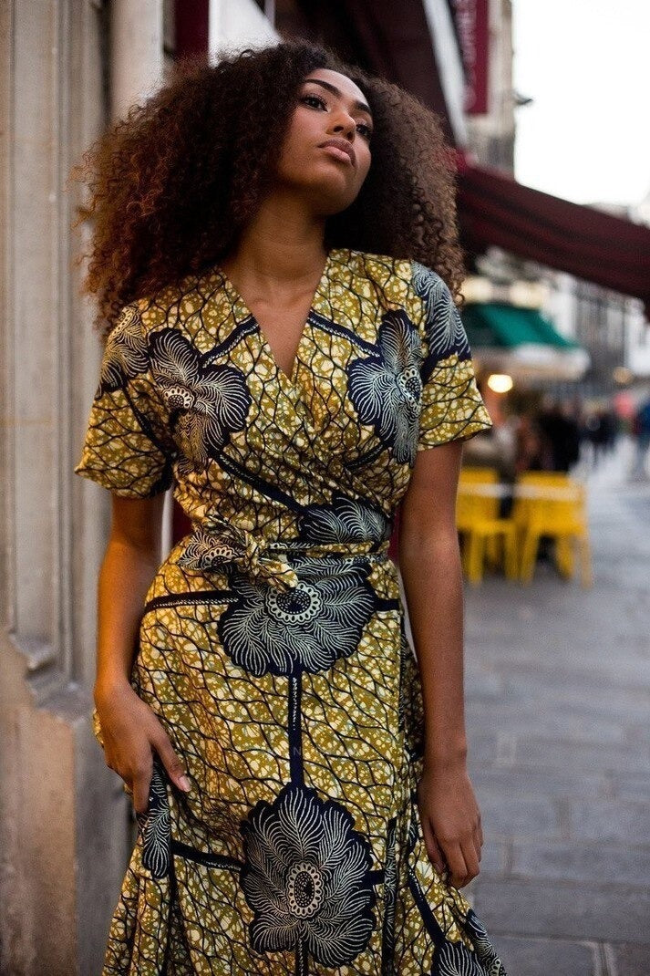 robe africaine grise