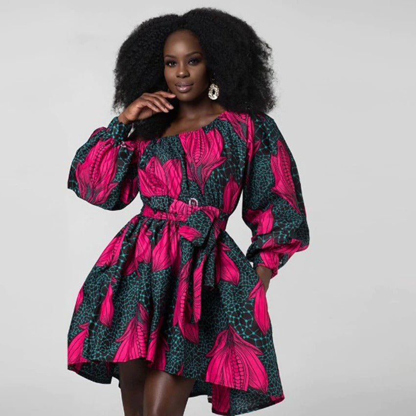 robe africaine à fleurs roses