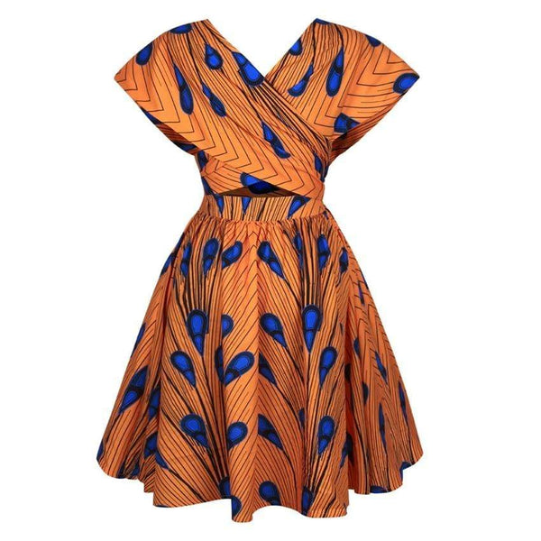 Robe Africaine Courte Orange