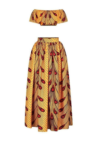 Robe Africaine Plumes Rouges