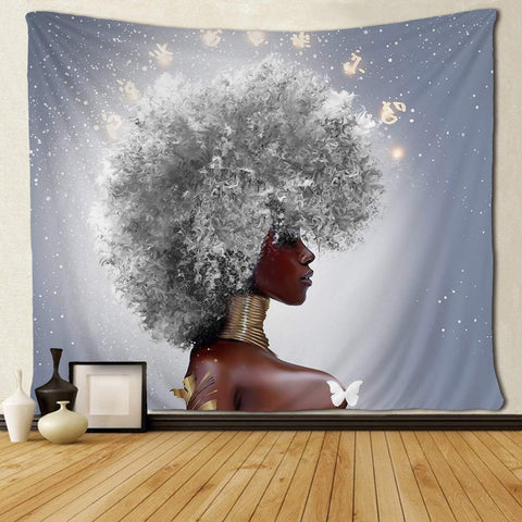 Tenture Africaine Afro Blanche