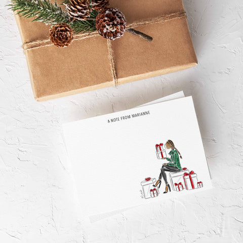 Holiday Gifts Stationery Set (select hair color/skin tone and personalize name)