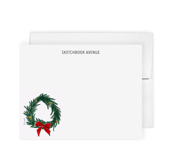 Holiday Wreath Stationery Set (personalize name)