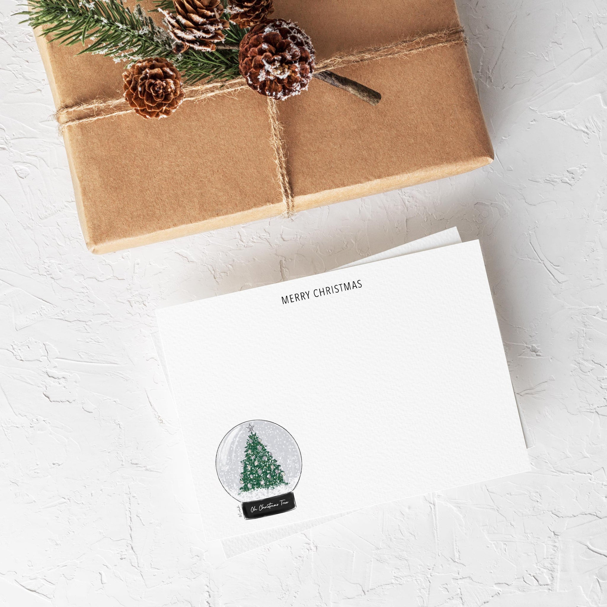 Oh Christmas Tree Snow Globe Stationery Set (personalize name)